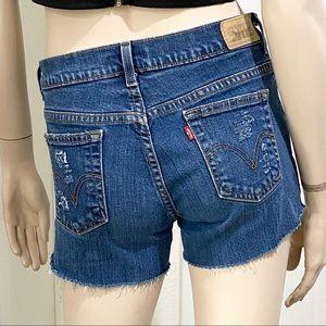 Levi's 515 Custom Distressed Cutoff Denim Shorts 4